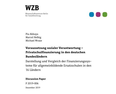 WZB Studie zur Finanzierung freier Schulen
